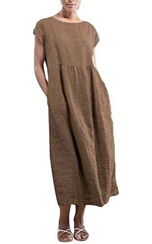 MAGIMODAC Shirtkleid Leinenkleid GR.36-50 Baumwolle Tunika T Shirt Kleider Freizeitkleid Sommerkleid Lang Ärmellos mit Taschen (Etikett 4XL/EU 48, Khaki)