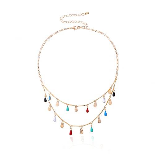 QiuYueShangMao Collar de Gota de Agua Sonriente Abierto de joyería de Moda...