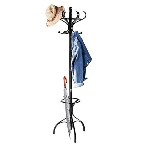 COSTWAY Garderobenständer Holz, Jackenständer mit 12 Haken, Kleiderständer mit Schirmständer, Garderobe Standgarderobe 182cm (schwarz)