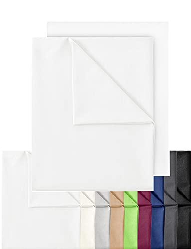 GREEN MARK Textilien 2er Pack Klassische Bettlaken Betttuch Laken Leintuch Haustuch 100% Baumwolle ohne Gummizug vielen Größen und Farben Größe: 150x250 cm, weiß