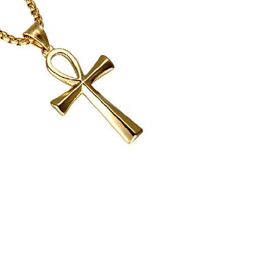 PicZhiwenture Halskette Anhänger Schlüsselbeinkette Kette Europäische und amerikanische Edelstahl ägyptische Symbol des Lebens Halskette Anhänger Kreuz Schmuck Religion-Goldene Trompete
