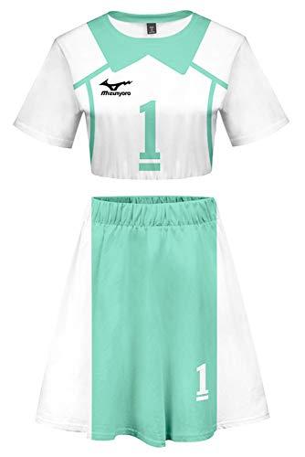 Bilicos Haikyuu Aoba Johsai High School Oikawa Tooru Volleyball Club Jersey Exposed Nabel T-Shirt Rock Set Suit Nr.1 Cheerleaders Grün Damen XL