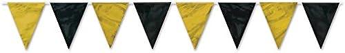 Beistle Club-Pack, wetterfest, SchwarzGold, 12 Wimpelbanner