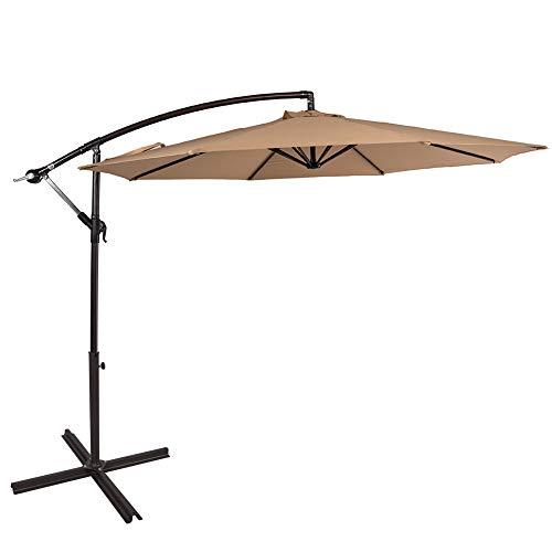 Sundale Outdoor 10 Feet Aluminum Offset Patio Umbrella with Crank and Cross Bar Set, Cantilever Umbrella for Deck, Garden, Backyard, 8 Steel Ribs, 100% Polyester Canopy Shade (Tan)