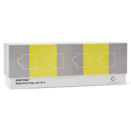 Pantone Porzellan Espressotassen im 4er-Set in Geschenkbox, 120 ml, mit Henkel, spülmaschinenfest, CoY 2021, Illuminating 13-0647 & Ultimate Gray 17-5104, CoY2021, 120ml