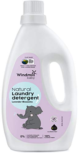 Windmill baby Natural Plant Based Laundry Detergent, USDA Certified, Allergen Free, Gentle with Bio-Enzymes, Lavender Blossoms - 900ml