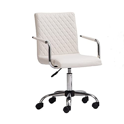 AINPECCA Office Chair PU Leather 360°Swivel Desk Chair Height Adjustable Computer Desk Chair for Home Office Study white…