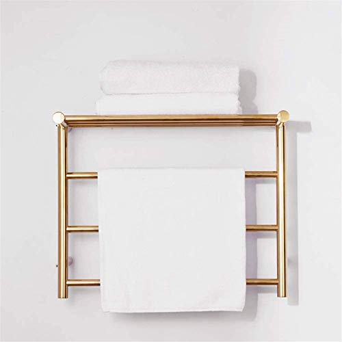 Rieles para toallas con calefacción Rieles para toallas con calefacción, calentador de toallas eléctrico montado en la pared, acero inoxidable 304, 3 + 3 barras térmicas, estante para secado de toalla
