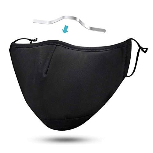 FLOWZOOM Stoffmaske mit Nasenbügel | Alltagsmaske aus Stoff waschbar mit verstellbaren Gummibänder | Innen Baumwolle, außen Polyester | Mit Filterfach (Schwarz mit Nasenbügel)