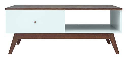 Boardd - Mueble de TV con soporte para escritorio, sala de estar, TV, banco de mesa con almacenamiento y 2 cajones, color dorado y blanco brillante, 135 x 55 x 40,5 cm