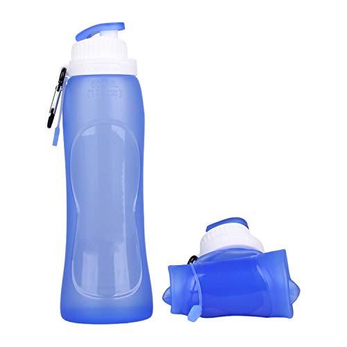 Silikon Wasserflasche Faltbar, Wafly 500ml Durchsichtig Sport Trinkflasche BPA Frei mit Strap Schnalle Umweltfreundlich Auslaufsicher Sportflasche für Fahrrad,Camping, Schule, Sportflasche Gym,Blau