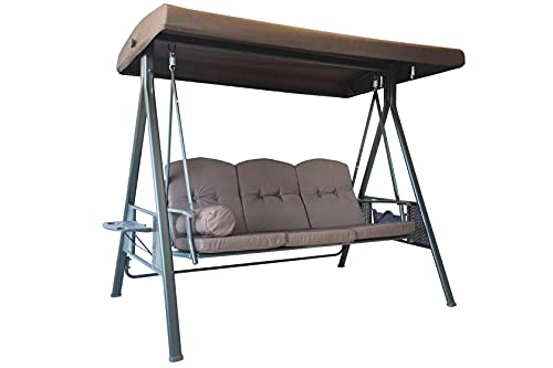 Luckberry 3-Seat Outdoor Large Canopy Swing Glider, Porch Patio Hammock Lounge Chair, Backyard ,Garden Adjustable Shade, Removable Cushions - Brown