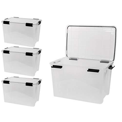 4 x XL Lagerbox aus transparentem Kunststoff mit Dichtungsring im Deckel für Nässe, Staub und Schmutz. 50 Liter Volumen.