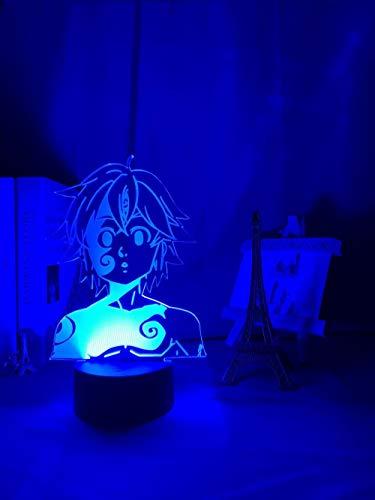 3D Night Lamp Acrylic Night Light Lamp Manga Gadget for Home Room Decorative Light Meliodas Figure Kids Table Lamp Gift