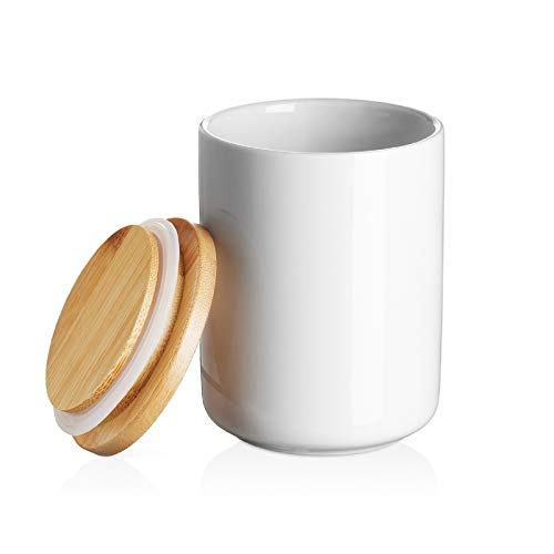 DOWAN Ceramic Kitchen Canister Food Storage Jar with Airtight Bamboo Lid - 14 FL OZ (400 ML) White Coffee Storage Canister, Crock for Sugar, Tea, Spices, Coffee Containers, 3.15 x 3.93 inches