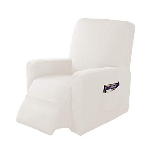 Jubang Sesselschoner Sessel-Überwürfe, Elastisch Sesselbezug, Bezug für Fernsehsessel, Liege Sessel, Schaukelstuhl, Weich Antirutsch Husse für Relaxsessel Weiß