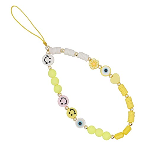 XTONG Smiley Face Phone Strap, Fruit Smile Rainbow Color Phone Lanyard Wrist Strap, Beaded Phone Strap 28cm 19#