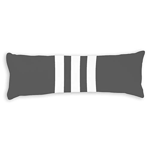 Promini White Charcoal Vertical Stripe Lumbar Body Pillow Cover Pillowcases Cushion with Hidden Zipper Closure for Sofa Bench Bed Home Decor 20'x54'
