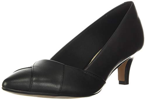 Clarks Women's Linvale Sage Pump, Black Leather, 7.5 Wide