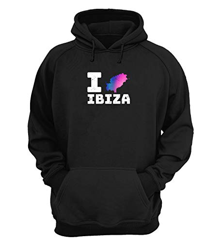 I Love Ibiza Map_KK023256 Hoodie Hooded Sweater Sweatshirt Christmas Gift Unisex Cotton - Black