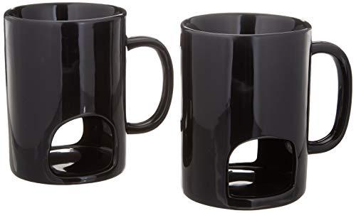 Persönliche Fondue-Tassen 2er-Set | Keramik-Fondue-Tassen und Gabeln (doppelt belüftet)