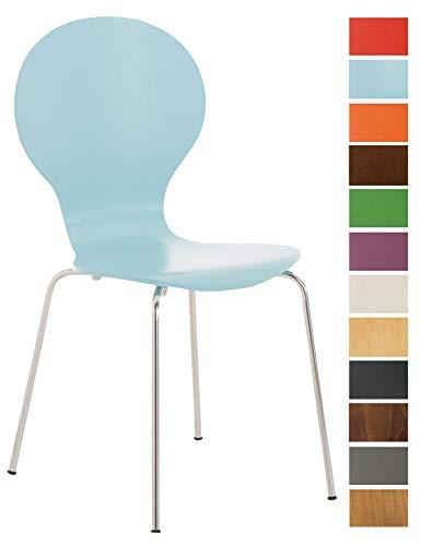 CLP Stapelstuhl Diego l Ergonomisch geformter Konferenzstuhl mit Holzsitz und Metallgestell I Stapelbarer Stuhl mit pflegeleichter Sitzfläche, Farbe:hellblau