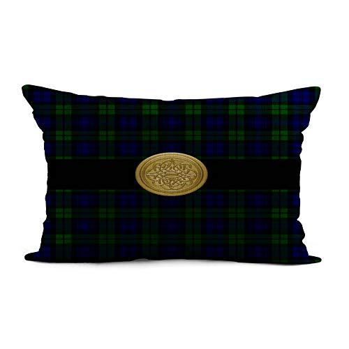 Topyee Throw Pillow Cover 12x20 Inch Blue Knotwork Black Watch Tartan Plaid Celtic Knot Green Home Decor Pillowcase Lumbar Pillow Case Cushion Cover for Sofa Couch Bed