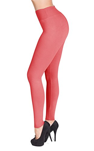SATINA High Waisted Leggings - 22 Colors - Super Soft Full Length Opaque Slim (One Size, Coral)