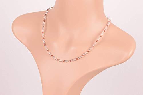 Edelsteinkette aus Bergkristall mit rotem Jaspis und 925 er Silber,Länge 45,5 cm,925 er Silberkarabinerverschluss,Unikat,Handarbeit