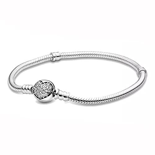 Q4S Pulsera De Plata De Ley 925 con Corazón De Amor, Pulsera para Mujer En Forma-18 cm