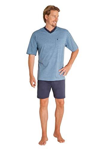 hajo Herren Schlafanzug kurz - Klima Komfort - mit V-Ausschnitt, Blau (Atlantik 683), 60 (4XL)