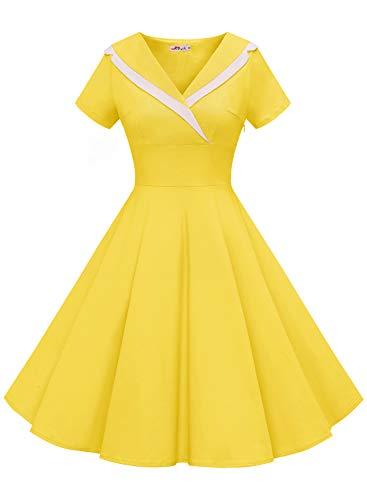 ALAGIRLS Women's 1950s Pockets Vintage Rockabilly Dress Swing Cocktail Party Sailor Dress ALA6003YellowS (Apparel)