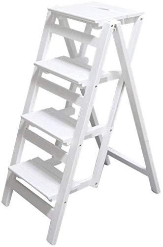 IAIZI massief houten kruk - klapkruk voor bibliotheek - kruk - multifunctionele kruk van wit hout - kleur ladder voor bureaustoel met 4 treden
