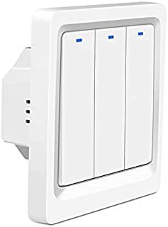 Kendom UK 1/2/3 Gang Push Button Switch Remote Wirless Light Switch Tuya Smartlife App Control Wall Switch Work With Alex...
