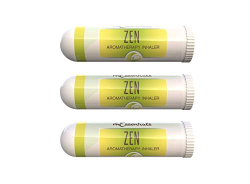mEssentials 3 Pack of Zen Aromatherapy Nasal Inhalers Made with 100% natural, therapeutic grade essential oils to help you meditate and to find your zen - anxiety and depression relief, relaxing