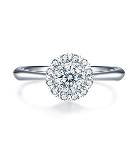Ubestlove Ring Gold Jewellery For Women Crystal Ring Table Lamp Round Snowflake 0.1Ct Diamond Ring K 1/2