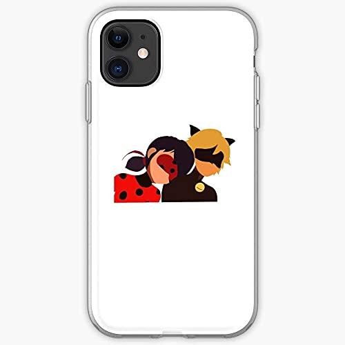 Jinfugongmao Compatible con iPhone 12/11 Pro MAX 12 Mini SE X/XS MAX XR 8 7 6 6s Plus Funda Chat Noir Ladybug Cat Miraculous I Fsgfancy Cajas del Teléfono Cover
