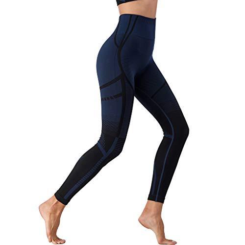 CareUToo - Pantalones de yoga para mujer, para fitness, barriga, cintura alta, sin costuras, invisibles (azul oscuro, M)
