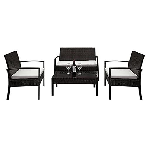 dongyu 4 piezas de muebles de patio al aire libre sofá seccional de mimbre conjunto Bistro conjunto conversación conjunto blanco asiento acolchado