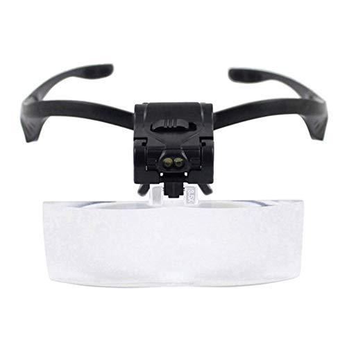 Carl Artbay Gloednieuw, hoge kwaliteit hoofd loep handen vrij, met LED-lamp 5 sets HD lenzen 1x 1,5 X 2 X 2,5 X 3,5 X leesbril, voor krant solderen handwerk reparatie onderhoud sieraden vergrootglas HD draagbaar