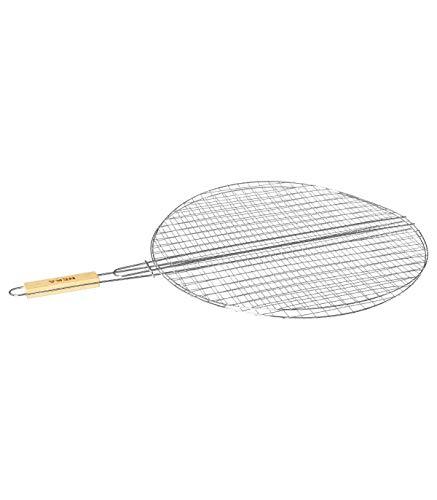 AC-Déco - Parrilla doble para barbacoa redonda, 50 x 75 cm, metal cromado