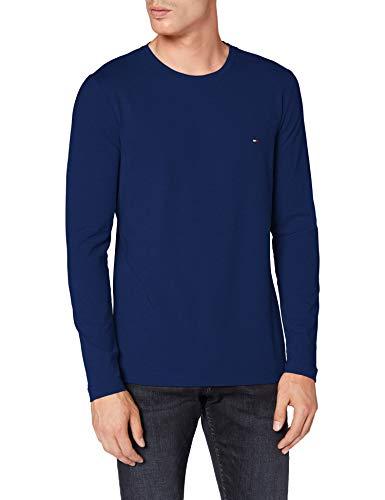 Tommy Hilfiger Herren Stretch Slim Fit Long Sleeve Tee Hemd, Blue, X-Large