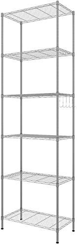 BATHWA 6 Ablage Standregal Badezimmerregal Metallregal Küchenregal mit Seitenhaken aus verchromt 54 x 29 x 160cm, Silber
