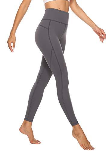 JOYSPELS Sporthose Damen Lang, Sport Leggins für Damen High Waist, Yoga Leggings Yogahose Sportleggins Tights, Grau, S