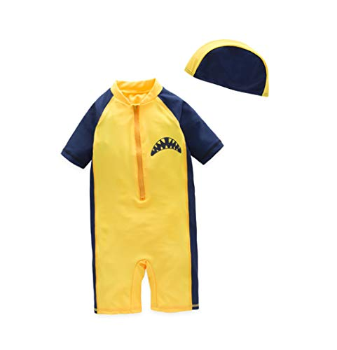 TAIYCYXGAN Baby Boys One Piece Stripe Swimsuit Toddlers 1//2 Sleeve Swimwear With Hat Rash Guard Surfing Suit UPF 50+