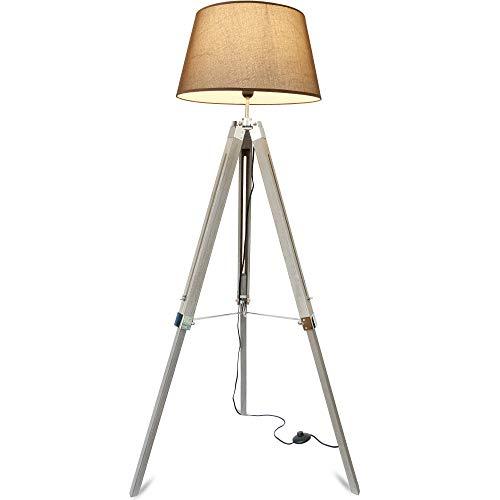 Mojo® Lámpara de pie, altura regulable, trípode, lámpara de lectura, Schirm Braun, Beschläge Schwarz, E27 40.0W