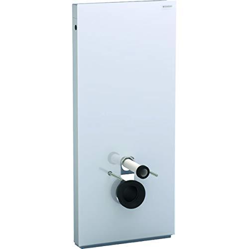 Geberit Monolith Sanitärmodul für Wand-WC, 114cm, Wasseranschluss hinten mittig, mit Anschlussstutzen, Farbe: Glas Weiß