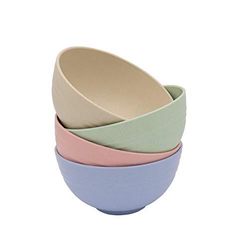 Eco Friendly Cuencos de paja de trigo 15x7.5 cm, 4 piezas de bol irrompibles, saludable, ecológico. Aptos para lavavajillas, microondas, irrompibles, reutilizables.
