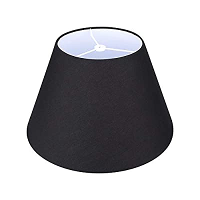 Medium Lamp Shade,Alucset Barrel Fabric Lampshade for Table Lamp and Floor Light,7x13x7.8 inch,Natural Linen Hand Crafted,Spider (Black)
