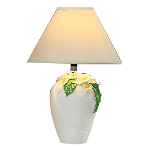 Lampe de table de décoration, blanc lampe de table blanc salon chambre à coucher chambre d'enfant lampe de chevet Calla Lily lampe de table interrupteur d'alimentation bouton 1head(Couleur : A)
